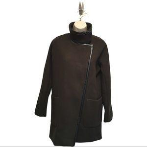 Madewell City Grid Coat Olive Green Wool Black Lea